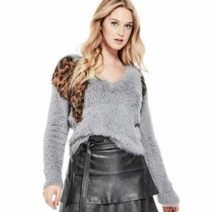 Guess Emi Leopard Intarsia Furry Vneck Sweater
